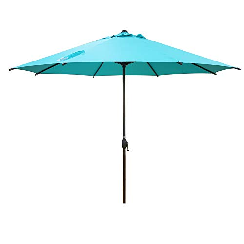Abba Patio 11ft Patio Umbrella Outdoor Umbrella Patio Market Table Umbrella with Push Button Tilt and Crank for Garden, Lawn, Deck, Backyard & Pool, Turquoise