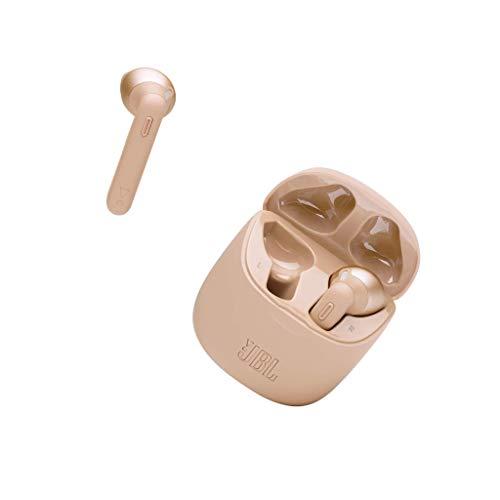 JBL Tune 225 TWS Lifestyle Bluetooth Kopfhörer in Gold - Kabellose Sport Ohrhörer für bis zu 5 Stunden Musikgenuss mit nur eine Akku-Ladung - Inkl. Ladecase