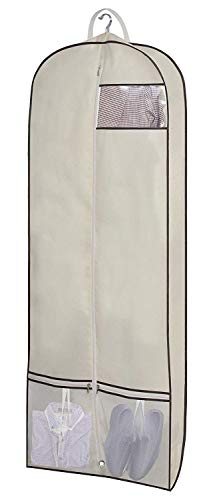 SLEEPING LAMB 60' Trifold Garment Bag for Long Dresses Breathable Hanging Clothes Travel Bag with Shoe Pockets & 2 Carry Handles for Full Length Gown Wedding Dress Storage, Beige