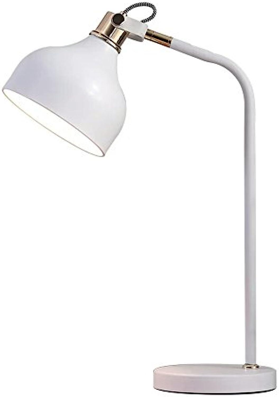 Tischlampe Nordic Schmiedeeisen Tischlampe Wei Einstellbare Leselampe Für Bedside Study Office, Φ18cm H52.5cm E27