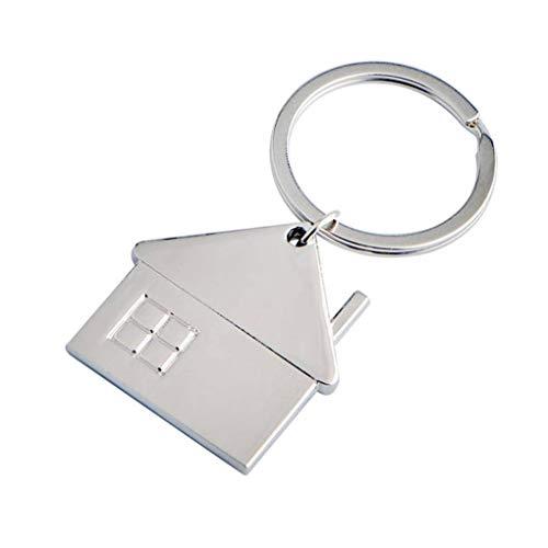 Forbestest Petite maison pendentif en forme de porte-clés en métal Accueil voiture géométriques Porte-clés Porte-clés Accessoires Décor