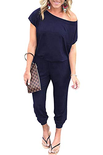 CLOUSPO Jumpsuit Damen Elegant Sommer lang Overalls Einer Schulter Kurze Ärmel Elastische Taille Rompers mit Taschen(Verpackung/MEHRWEG) (Small, Marineblau)
