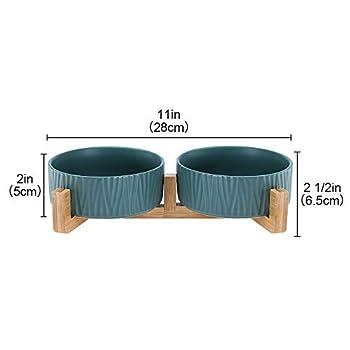 HCHLQLZ Vert Pet Gamelles pour Chien et Chat Gamelles Chien Chat Céramique Support Bambou -Va au Lave-Vaisselle et Facile à Nettoyer (2 Bol)
