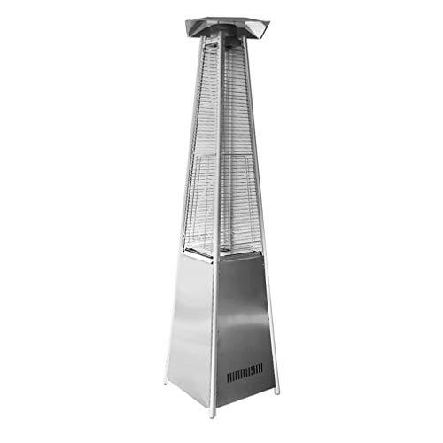 Kitechildhssd Calentador de Gas al Aire Libre de Vidrio cuadrilátero de Llama de Estufa de Gas licuado de Torre móvil Plata