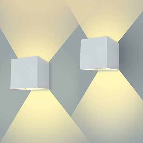 ENCOFT 2 Stück LED Wandleuchte 12W Aussen Innen Weiß IP67 Wasserdichte 3000K Warmweiß Wandlampe Außenleuchte Wandbeleuchtung Weiß mit Einstellbar Abstrahlwinkel (Warmweiß)