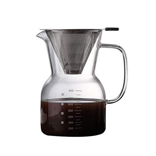 Bingxue Filtro de Acero Inoxidable Reutilizable sin Papel para cafetera y Filtro de Acero Inoxidable sin BPA para cafetera de Vidrio