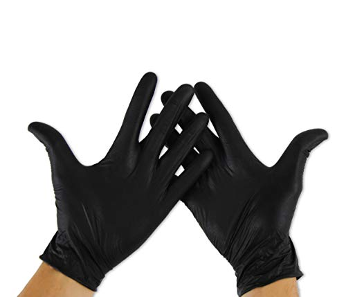 KMINA - Guantes Nitrilo Talla M (Pack 100 uds), Guantes Nitrilo Desechables, Guantes Nitrilo Negro, Guantes Desechables Nitrilo, Guantes Sin Polvo, Guantes Negros (LATEX FREE)