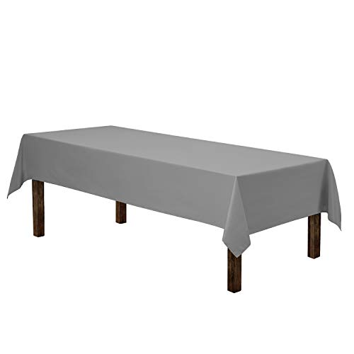 """Gee Di Moda Rectangle Tablecloth - 60 x 102"""" Inch - Charcoal Rectangular Table Cloth for 6 Foot Table in Washable Polyester - Great for Buffet Table, Parties, Holiday Dinner, Wedding & More"""