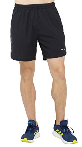 MIER Men's Quick Dry Workout Running Shorts Active Athletic Shorts with 4 Pockets, No Liner, Lightweight and Water Resistant, 7 Inches, Black, M