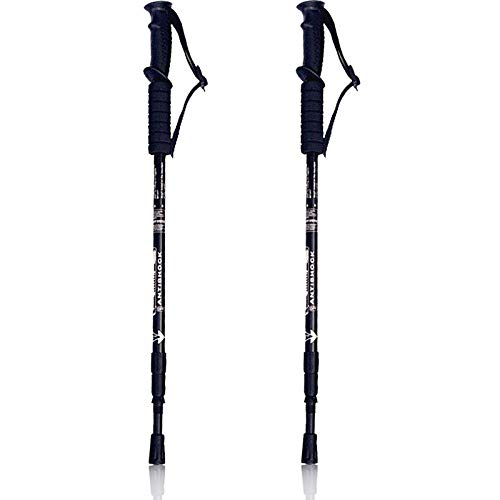 Walking Stöcke Teleskop Wanderstöcke verstellbar 65-135cm, hochwertige Qualität, Superleicht, stoßgedämpft Nordic Walking Stöcke für Herren & Damen, Farbwahl (Schwarz)