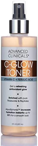 8oz Advanced Clinicals Vitamin C Toner for face with Rosewater and Peptides Vitamin C Glow Toner product image