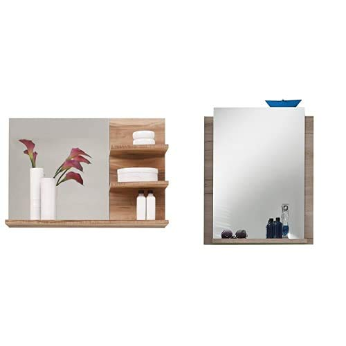 Trendteam Muebles, Satín (imitación de Nogal), 72x57x20cm + 1316-401-90 Campus Espejo de baño con balda (imitación de Roble, 60 x 75 x 15 cm), Color Roble, Roble(Oak)