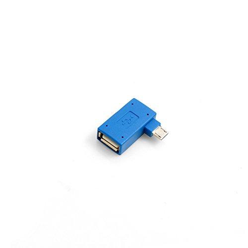 SYSTEM-S USB type A ingang op Micro USB-stekker 90° links OTG host kabel Flash Drive verbinding met extra Micro USB-aansluiting voor Smartphone Tablet