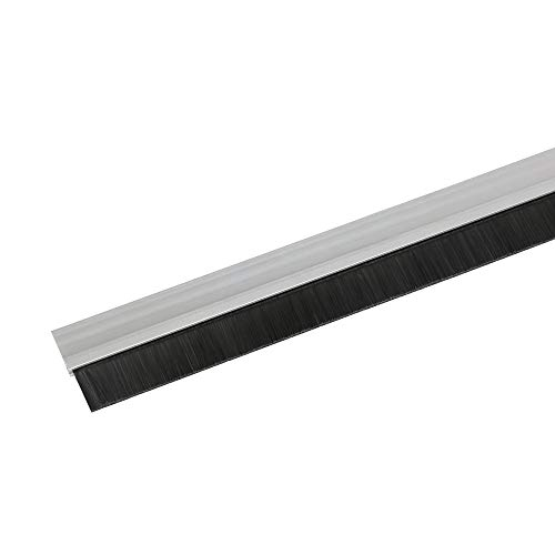 Toolerando Burlete de aluminio para puertas con terminación en cepillo/Sellado aislante de aluminio con cepillo para puertas, incl. montaje adhesivo, 100 cm, plateado