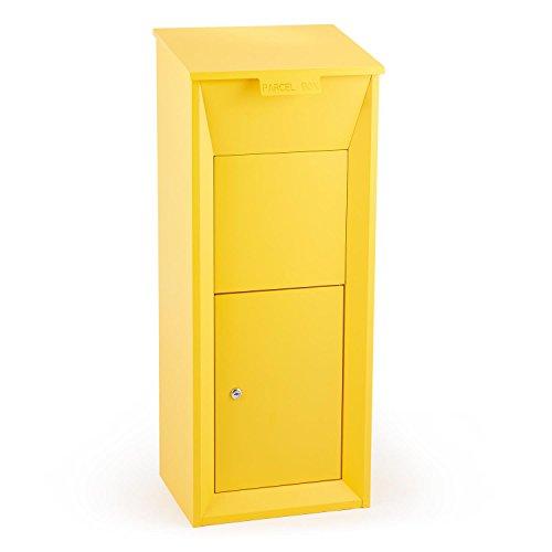 Waldbeck Postbutler - Paketpostkasten, Briefkasten, Standbriefksten, Paketbox, 33x19x30cm, abschließbar, 3-Punkt-Schloss, Bodenverankerung, gelb