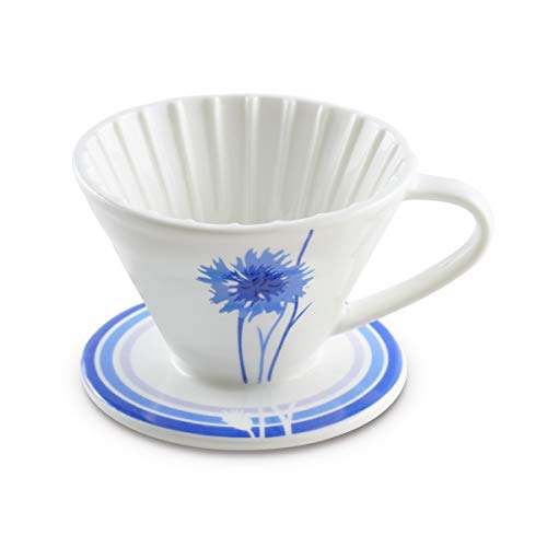 BLUE BREW Ceramic Pour Over Coffee Dripper for 1 – 4 Cups Cornflower-Artisan Series, 1-4