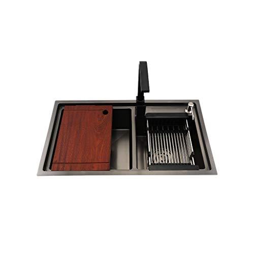 Waschtischarmaturen 304 Schwarz Edelstahl Doppel Schüssel Küchenspüle Einbaubecken Big Bereich Waschtische Mit Platte (L 820 X B 450 X 230 Mm D)