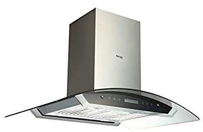 "EKON NAIS01-36"" Island Mount Range Hood for Kitchen Room 900 CFM / 2 Pcs 4 Speeds Touch Control LCD Display With Remote / 4 Pcs 3W Led Lamp / 2 Pcs Baffle Filter (Curved glass island range hood)"