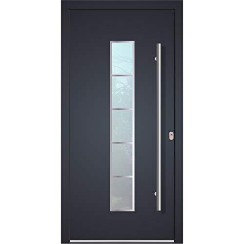 Haustür Welthaus WH75 Standard Aluminium mit Kunststoff LA250 Frankfurt Tür 1100x2100mm DIN Rechts Farbe aussen anthrazit Innen weiß außengriff BGR1400 innendrucker M45 Zylinder 5 Schlüßel