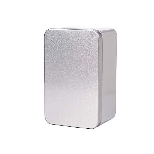 Yardwe Blechdosen Quadratische Box mit Deckel Metallboxen Leerdose Behälter Geschenkbox für Tee Kerzen Bonbons 13x8x6cm (Silber)