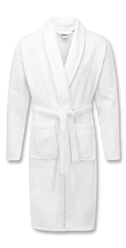 A & B TRADERS Bath Robe 100% Egyptian Cotton Terry Towelling Robe Gown Luxury and Super Soft (White)