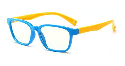 FOURCHEN Gafas de luz anti-azul para niños Gafas de computadora, protección UV Gafas antirreflejo Gafas de computadora Gafas de videojuegos para niños (Blue-yellow) ⭐