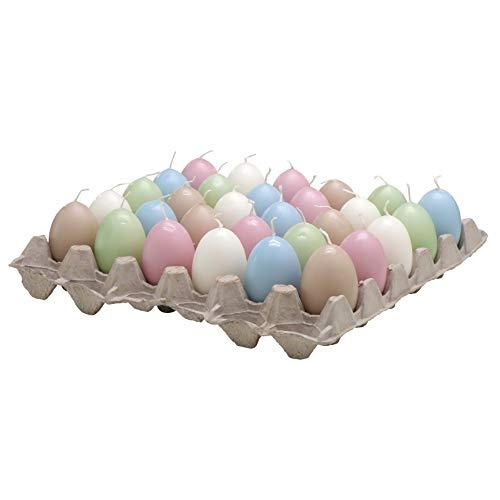 Tante candele a forma di uovo – assortimento colorato 1 – altezza 6 cm – 30 pezzi assortiti – Lunga durata – Candele in forma di uova / uova di Pasqua / decorazione per Pasqua.