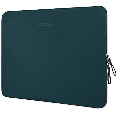 MOSISO PU Leder Sleeve Hülle Kompatibel mit 13-13,3 Zoll MacBook Air/MacBook Pro Retina/2019 2018 Surface Laptop 3/2/Surface Book 2, Gepolstert wasserdichte Laptoptasche, Deep Teal