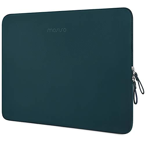 MOSISO Laptop Sleeve Compatible with MacBook Air 13 inch A2337 M1 A2179 A1932, 13 inch MacBook Pro A2338 M1 A2289 A2251 A2159 A1989 A1706 A1708, PU Leather Padded Bag Waterproof Case, Deep Teal