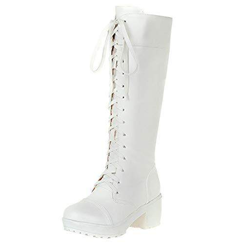 MISSUIT Damen Kniehohe Schnürstiefel Plateau Kniestiefel Schnürung Blockabsatz Kniehoch Stiefel 6cm Absatz(Weiß,35)
