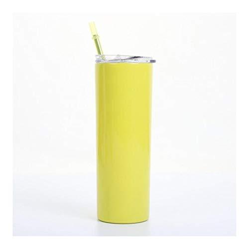 Reise-Becher Edelstahl dünne Thermosflasche 20 Unzen dünnen Tumbler Beer Cup mit Deckel Straw dünnen Wein Cup Doppel Vakuum-Insulated-Becher (Capacity : 600ml, Color : Yellow)