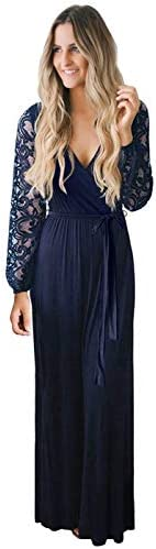 Zattcas Womens Vintage Floral Lace Long Sleeve Faux Wrap V Neck Party Long Maxi Dress Navy Medium product image