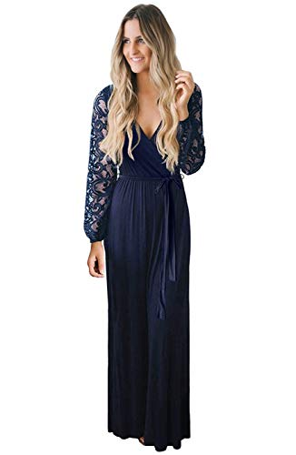 Zattcas Women Fall Casual Faux Wrap V Neck Vintage Floral Lace Long Sleeve Maxi Dress Navy X-Small (Apparel)