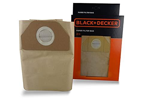 Black+Decker Sacchetti Filtro in Carta 20L per Aspiratori Solidi e Liquidi