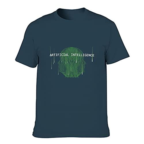 Camiseta de algodón para hombre, código divertido, elegante, respetuosa con la piel, impresa azul marino XXL