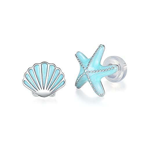 GDDX Pendientes de botón de tortuga marina de plata esterlina Cristal azul Pendientes de animales lindos Joyería para mujeres niñas (estrella de mar)
