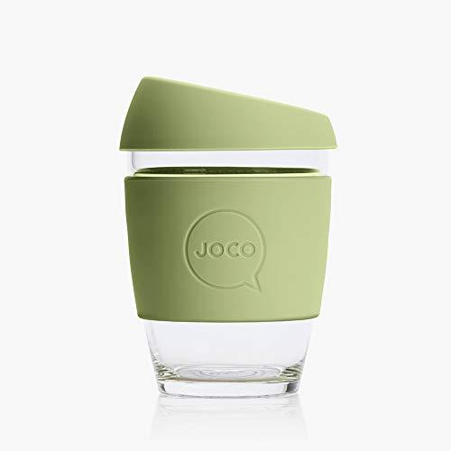 Joco Kaffeebecher aus Glas, wiederverwendbar, 340 ml armee-grün