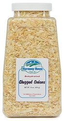 Harmony House Dried Onions, Chopped – Dehydrated Vegetables For Cooking, Camping, Emergency Supply and More (12 oz, Quart Size Jar)