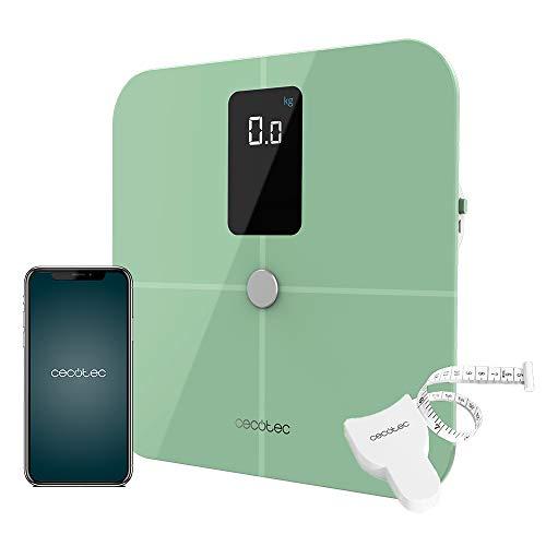 Cecotec Báscula de Baño inteligente Surface Precision 10400 Smart Healthy Vision Green. Medición de Bioimpedancia, App, 15 Parámetros