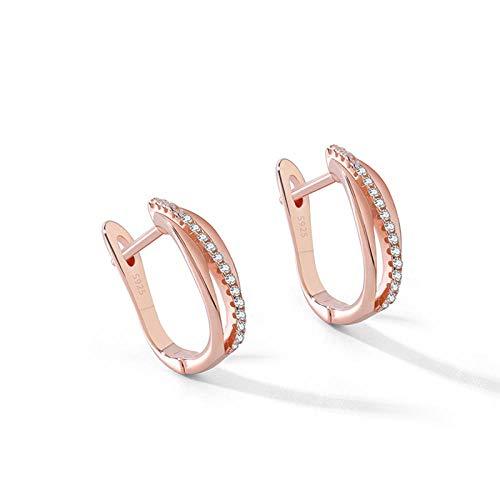 YFZCLYZAXET Pendientes Mujer Pendientes De Aro De Diamantes De Imitación Multicapa De Plata De Ley 925 para Mujer Pendientes Breves De Moda Simple-Ve7536
