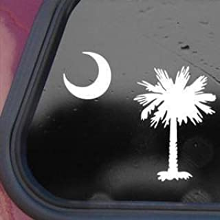 PALMETTO TREE MOON SC FLAG White Decal Sticker Die-cut White Decal Sticker
