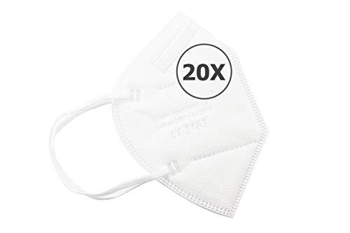 TBOC Mascarillas FFP2 - [Pack 20 Unidades] Máscaras Desechables [Color Blanco] 5 Capas [No Reutilizables] Transpirables Plegables con Pinza Nasal [Certificadas y Homologadas CE 2163]