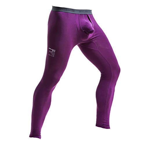 Ouruikia Men's Thermal Underwear Pants Modal Long Johns Tagless Lightweight Thermal Bottoms Separate Pouch (Purple, Medium)