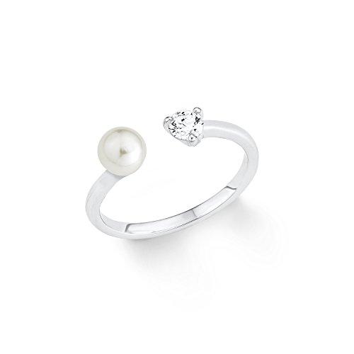 s.Oliver Damen-Ring Perle Süßwasserzuchtperle 925 Silber rhodiniert Zirkonia weiß Gr. 56 (17.8)-2012541