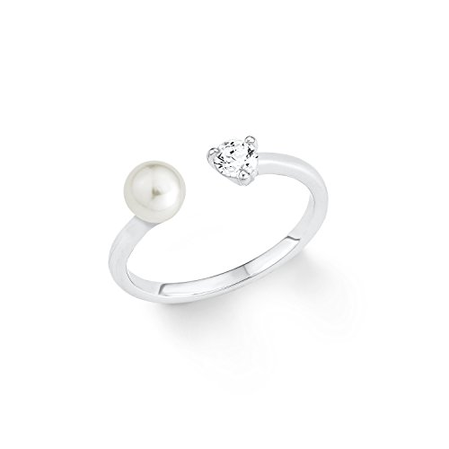 s.Oliver - Anello da donna con perla d'acqua dolce, in argento 925 rodiato, con zirconi bianchi e Argento, 54 (17.2), colore: argento, cod. 2012540