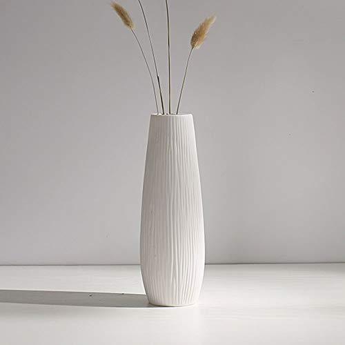 AWSAD Vase Keramik Weiß Matte, vertikale Kanten Einfach und elegant Moderne Mode Die Größe ist Höhe 22,3 cm x Kaliber 5,7 cm Wird zur Dekoration von Haus, Wohnzimmer, Schlafzimmer, Esstisch und Café v