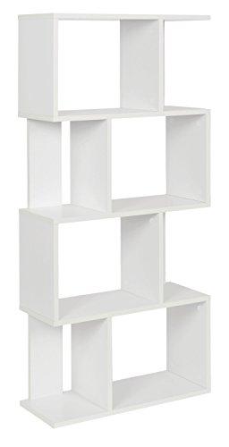 ts-ideen Design boekenrek, staand rek, boekenrek, CD-rek, opbergrek, hout, wit, 128,5 x 60 cm
