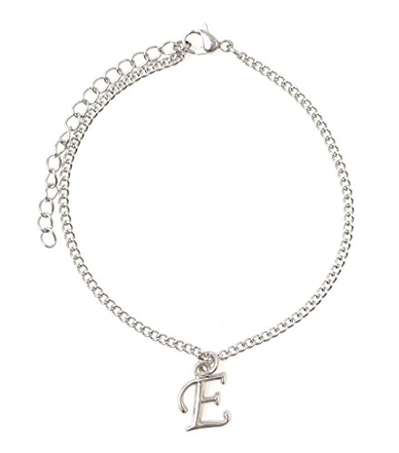 "It's All About...You! 7.5"" - 9.5"" Stainless Steel Ankle Bracelet with Alloy Initial Letter E 49E"