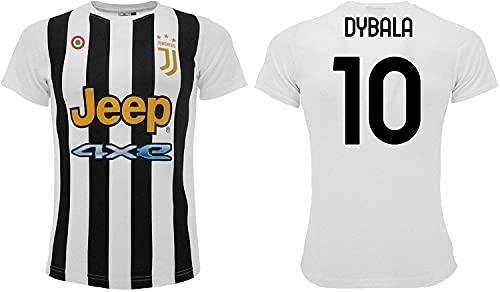 Sportbaer Camiseta de fútbol Paulo Dybala temporada 2021 2022. Camiseta blanca negra número 10. Primera camiseta. Réplica oficial autorizada. Tallas de adulto y niño.
