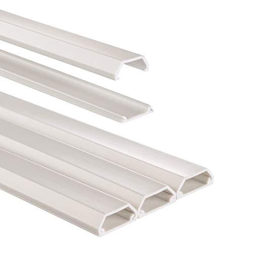 Hama Chemin de câble (bande en PVC/Aluminium pour montage mural TV ou au sol, cache-câble rectangle, 100 x 2,1 x 1 cm, entrée de câble jusqu'à 3 câbles, 3 pièces, matériel de montage compris) Blanc